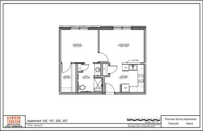 Plummer School Apartment Floor Plans 105, 107, 205 & 207