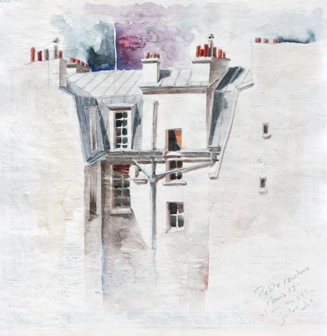 esquisse - petite ceinture 12ème arrondissement - crayon et aquarelle