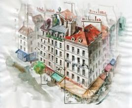 Quai Saint-Michel / Rue du Petit Pont - crayon et aquarelle