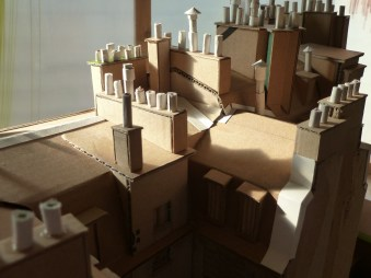 Côté gauche : toits, cheminées munies de leurs mitrons