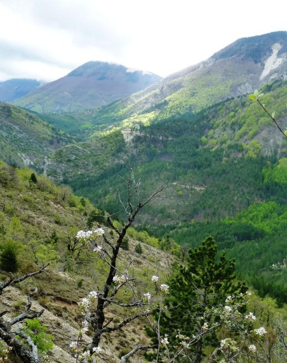 Descente de la crête vers Lange et la vallée du Jabron