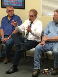 U.S. Senate candidate Ted Strickland, center, during a talk with labor supporters in The Plains, Ohio. Photo by D.C. DeWitt