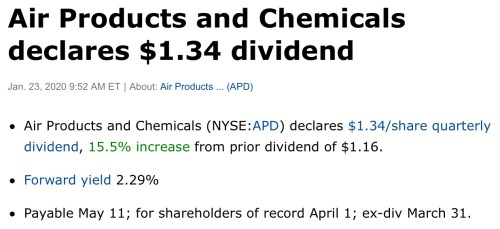 air product chemical dividend hike