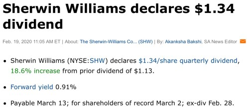 sherwin williams dividend hike