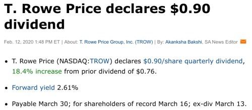 trow augmentation dividende