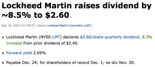 Lockheed hausse de dividendes