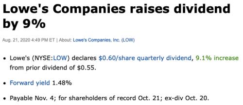 Lowes augmentation de dividendes