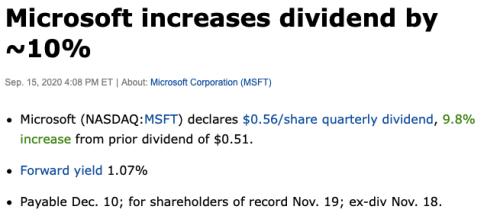 Microsoft hausse de dividendes