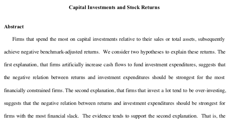 Capital investment and stock returns paper