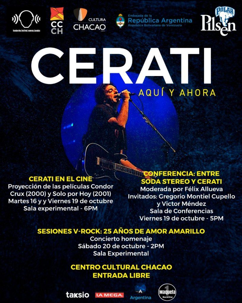 La Fundación Nuevas Bandas celebrará a Gustavo Cerati con Sesiones V-Rock y proyecciones de películas y conferencias. Cusica Plus.