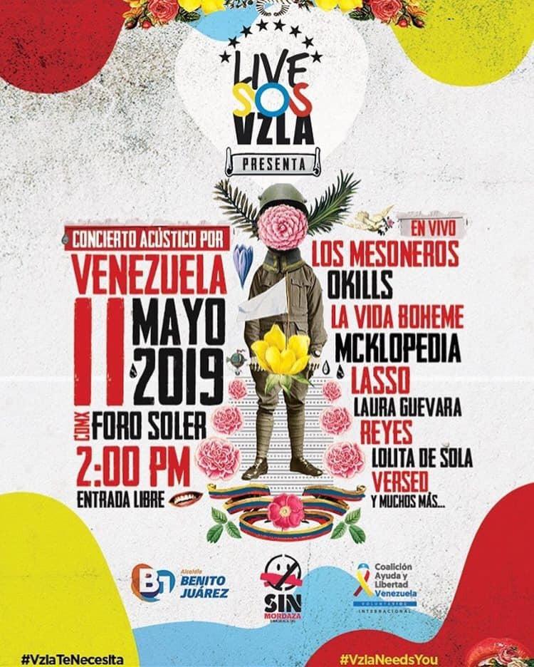 Los Mesoneros, Mc Klopedia, Lasso y más, se presentarán en el 'Concierto Acústico por Venezuela'. Cusica Plus.