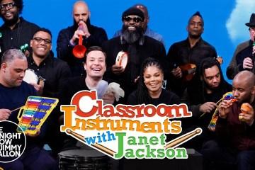 Janet Jackson cantó 'Runaway' junto a Jimmy Fallon, con instrumentos de juguete. Cusica Plus.