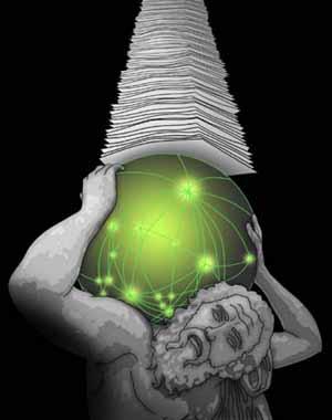 Man struggling under weight of information