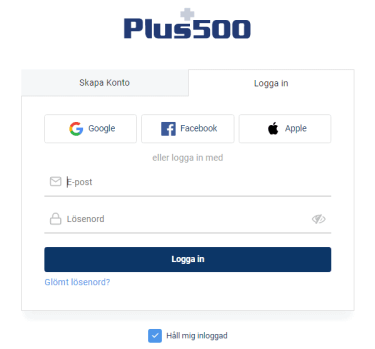 Öppna Plus500 hemsida
