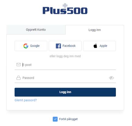 Registrering på Plus500
