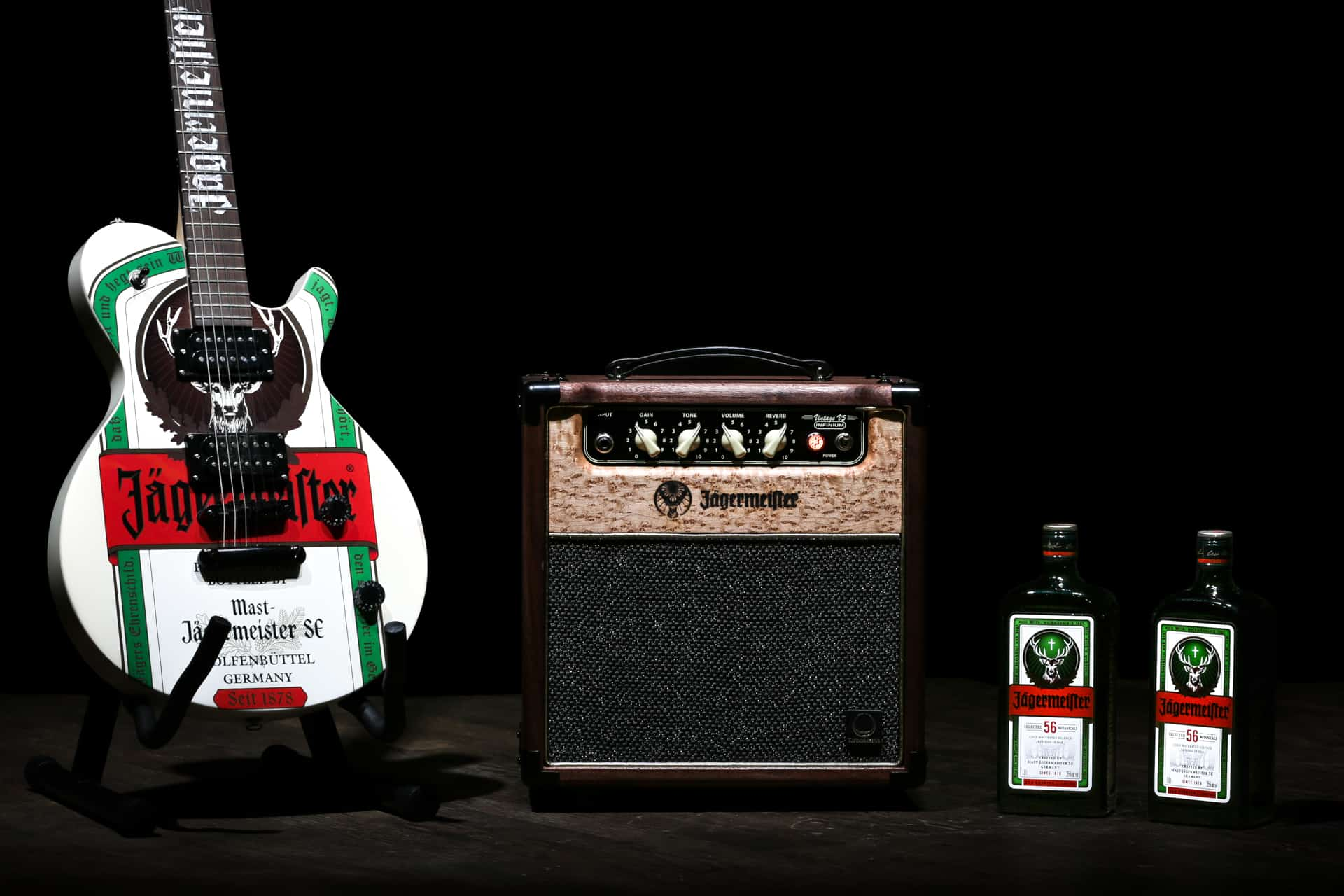 Photograph of Custom Jagermeister Guitar Equipment