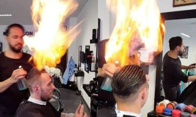 Meet Demirel, The Strange Barber Who Uses Fire To Cut His Clients' Hair (Photos)
