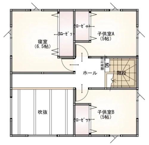プラスホーム 燕市 吉田 モデルハウスの2階間取り
