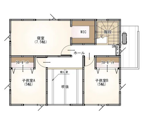 プラスホーム 小千谷市 旭町 モデルハウスの2階間取り