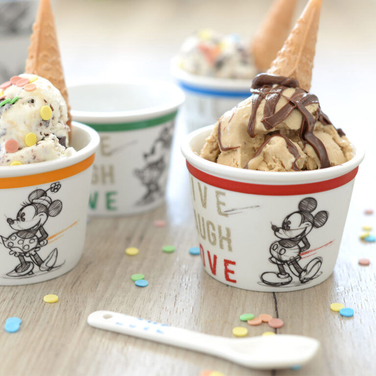 Mickey cup red ice-cream with spoon live laugh love