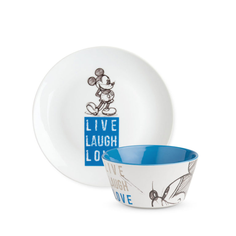 Mickey Set Dessert Blue Plate And Bowl Live Laugh Love.