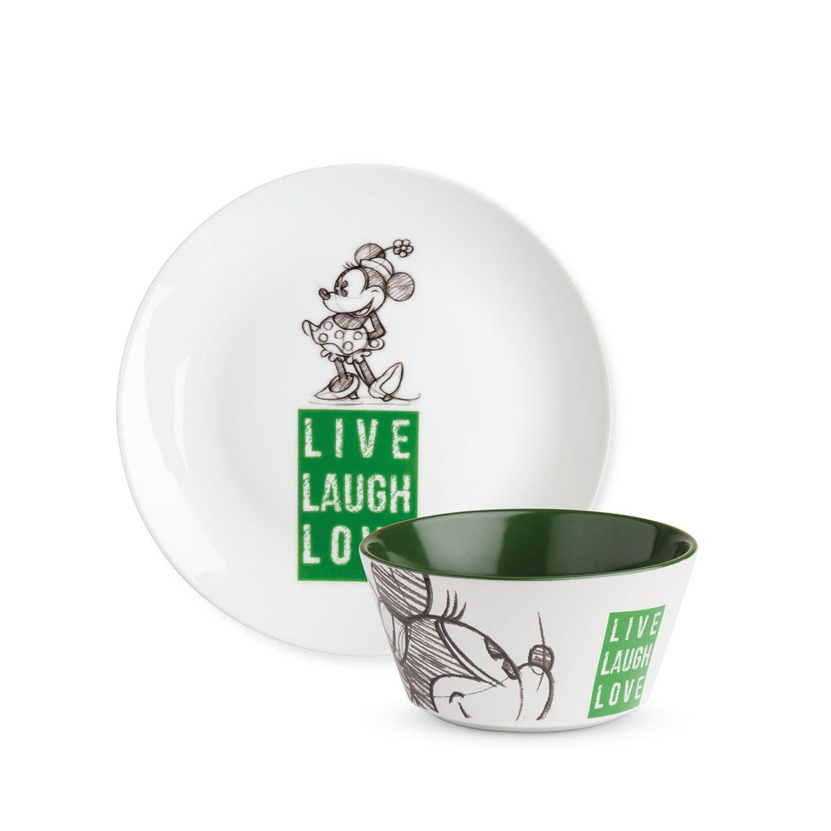 Minnie Plate/Bowl Green Set - Live Laugh Love