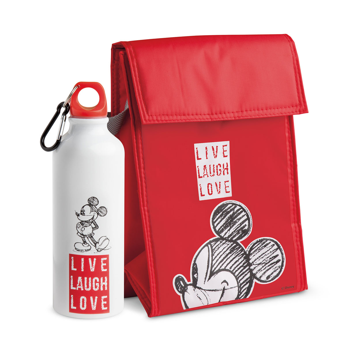 Cooler Bag And Flask Mickey Set - Live Laugh Love