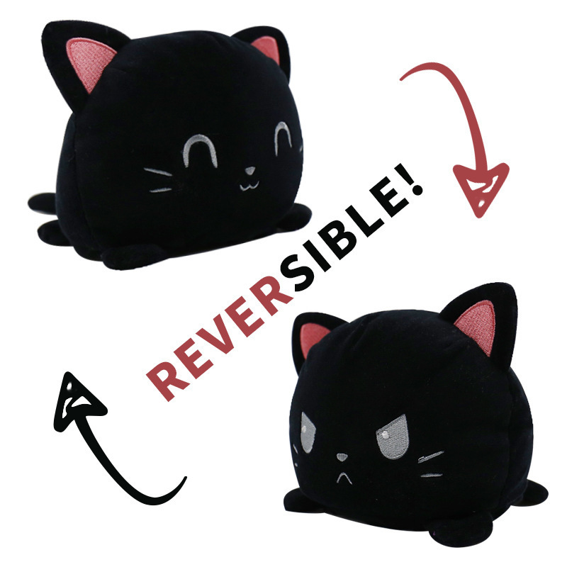 Black Reversible Cat Plush Toy