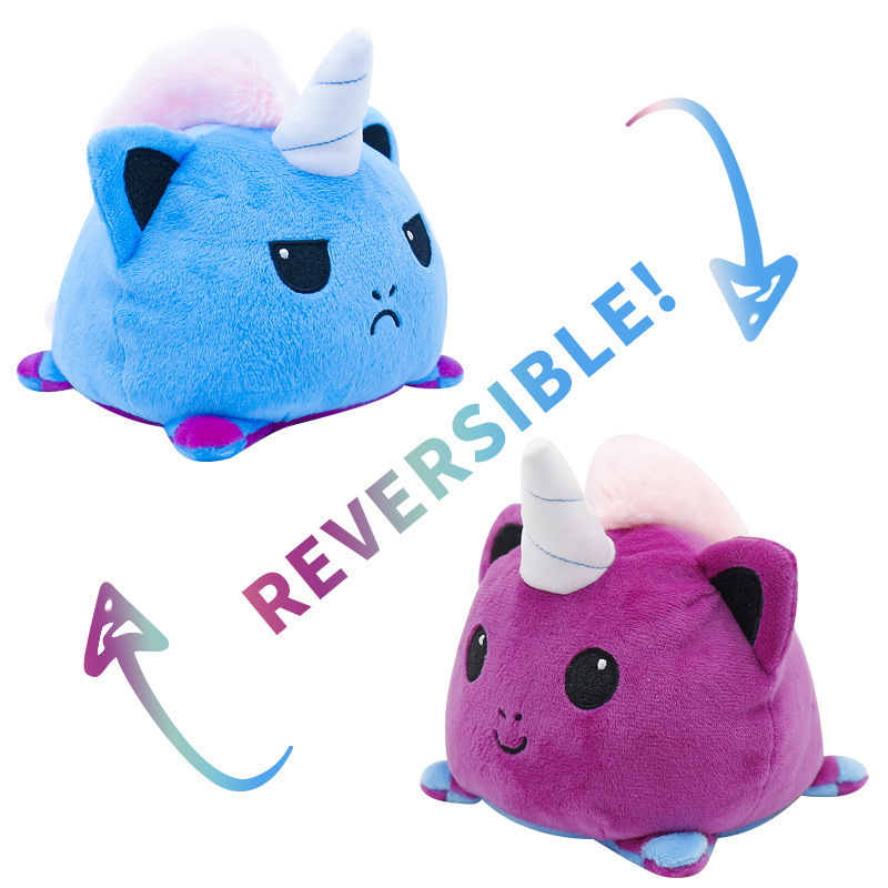 Blue & Purple Reversible Mood Unicorn Plush Toy