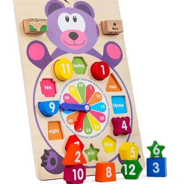 Wooden Building Block Clock Toys
