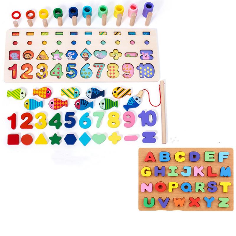 Montessori Wooden Numbers & Alphabet Educational Puzzle