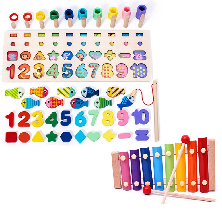 Montessori Wooden Numbers Educational Puzzle & Xylophone Set