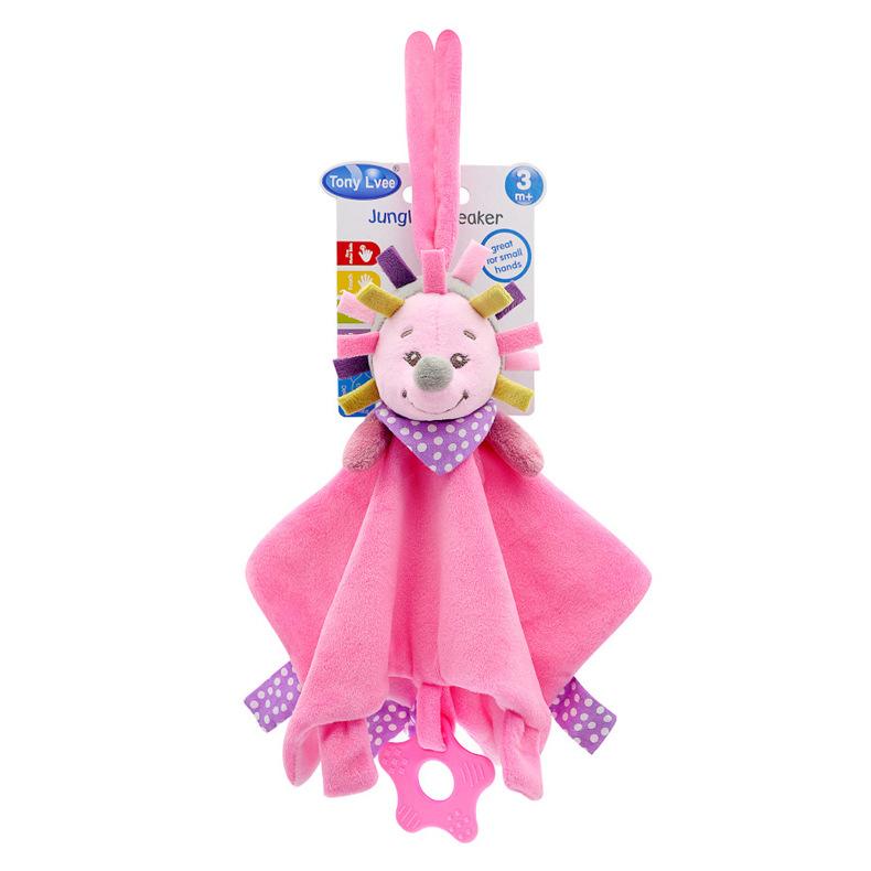 Baby Multifunctional Teether Comforting Towel Pink Hedgehog