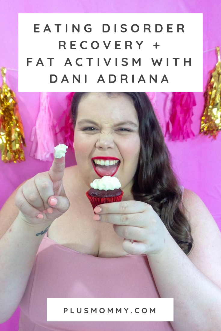 Plus size woman eating cupcake