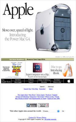 1999年Apple社のWebサイト