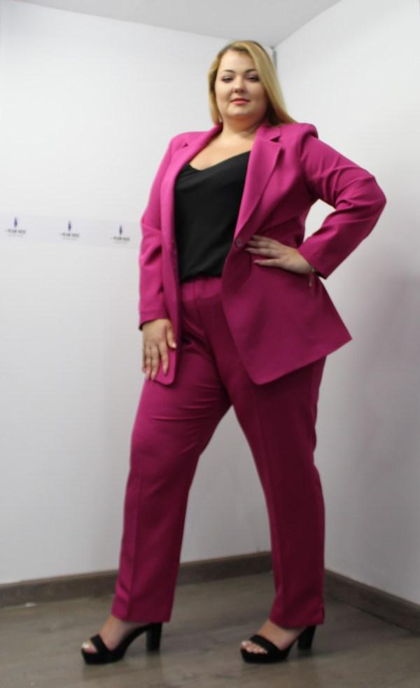 Παντελόνι φούξια σε ίσια γραμμή με φερμουάρ στο πλάι και κουμπί