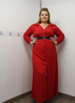 Φόρεμα σεμιζιέ κόκκινο με ζωνάκι στη μέση και φόδρα