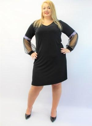 Φόρεμα μεγάλα μεγέθη midi μαύρο τούλι και παγιέτα στα μανίκια