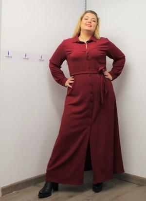Φόρεμα μεγάλα μεγέθη σεμιζιέ κρεπ ελαστκό με ζωνάκι στη μέση