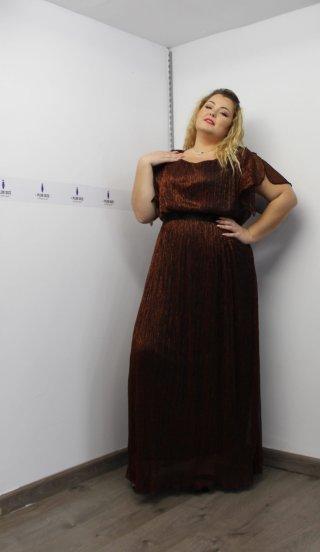 Φόρεμα μεγάλα μεγέθη μπρονζέ σκίσιμο μανίκια λάστιχο στη μέση