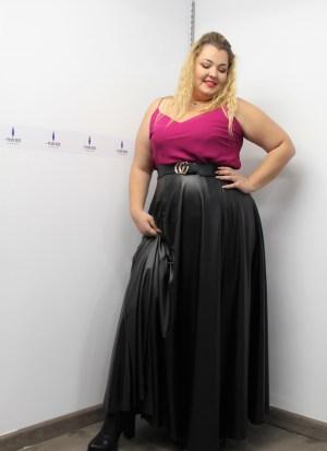 Δερμάτινη φούστα μεγάλα μεγέθη maxi μαύρη ψηλόμεση