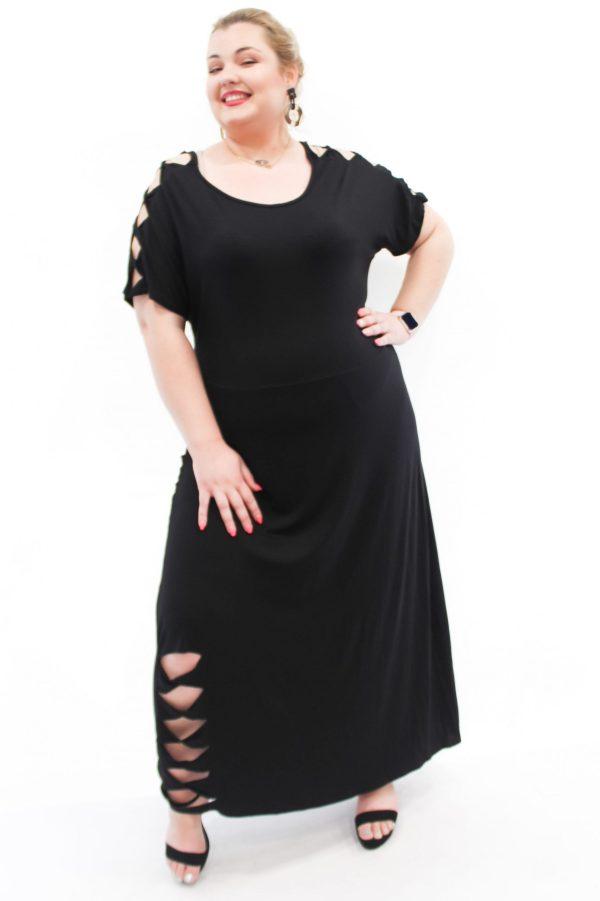 Φόρεμα βισκόζ μεγάλα μεγέθη με ανοίγματα στους ώμους και το τελείωμα. Στο eshop θα βρείτε οικονομικά γυναίκεια ρούχα σε μεγάλα μεγέθη και υπερμεγέθη