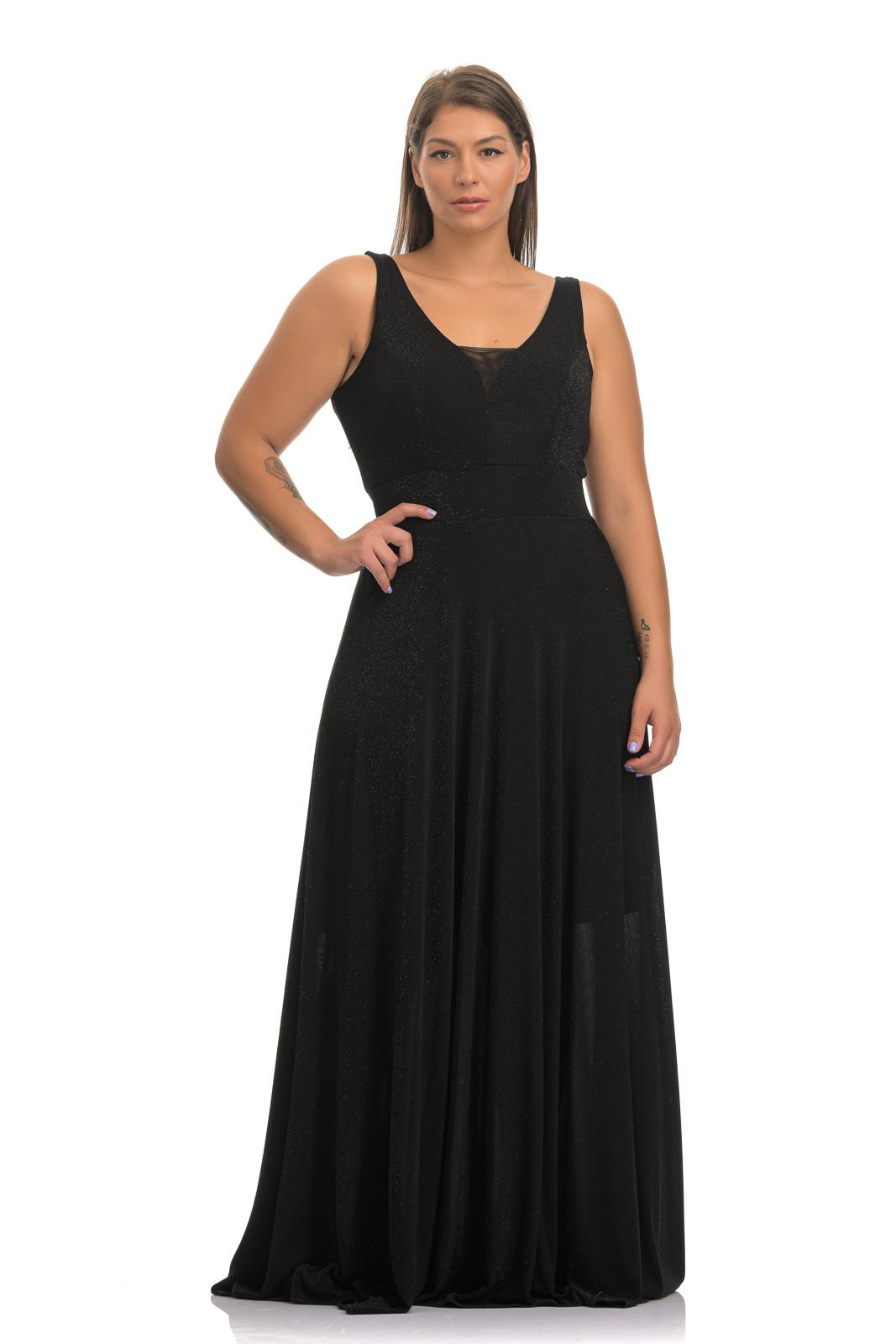 Φόρεμα maxi λούρεξ μαύρο με διαφάνεια στο στήθος και λάστιχο στη μέση