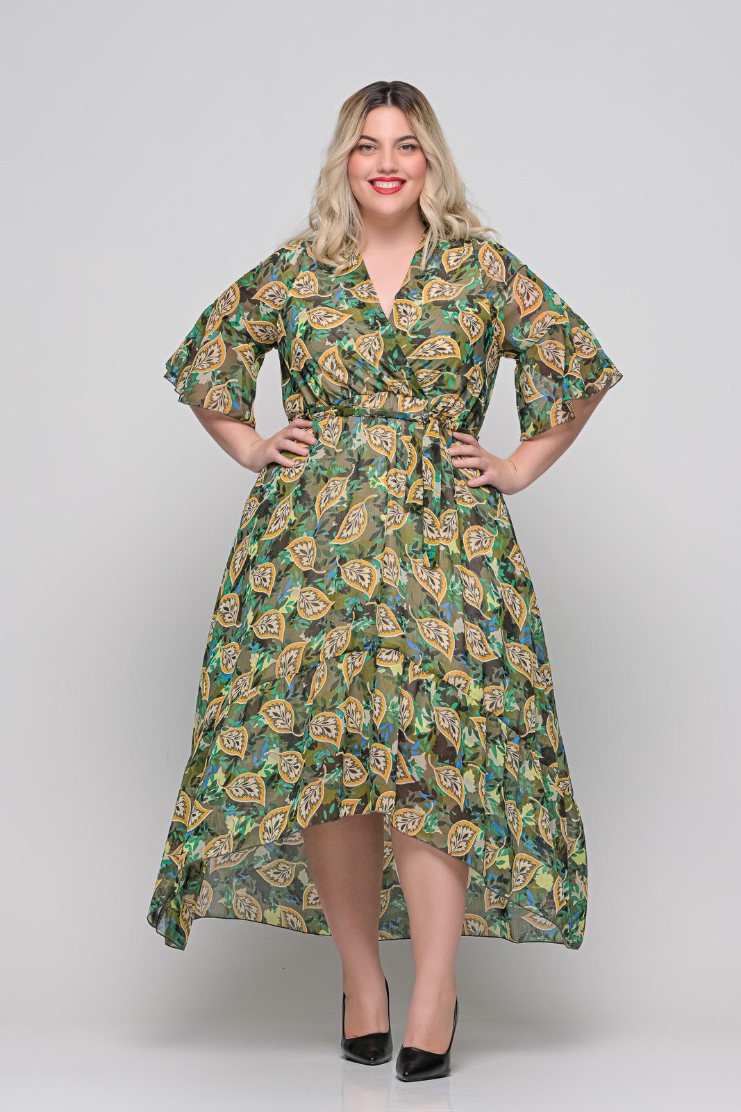 Φόρεμα μεγάλα μεγέθη κρουαζέ floral με φραμπαλά μανίκι και ζωνάκι.Στο eshop μας θα βρείτε οικονομικά γυναίκεια ρούχα σε μεγάλα μεγέθη και υπερμεγέθη.