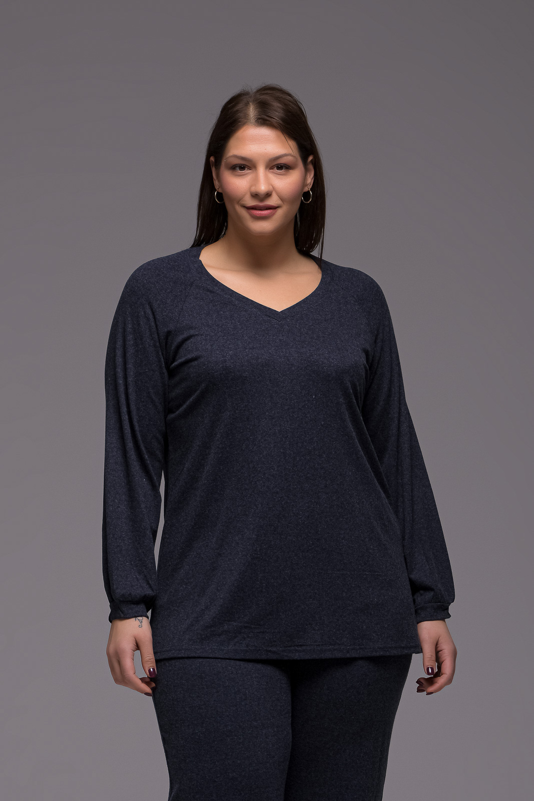 Μπλούζα μεγάλα μεγέθη +Psx γκρι μπλε ελαστική βισκόζ
