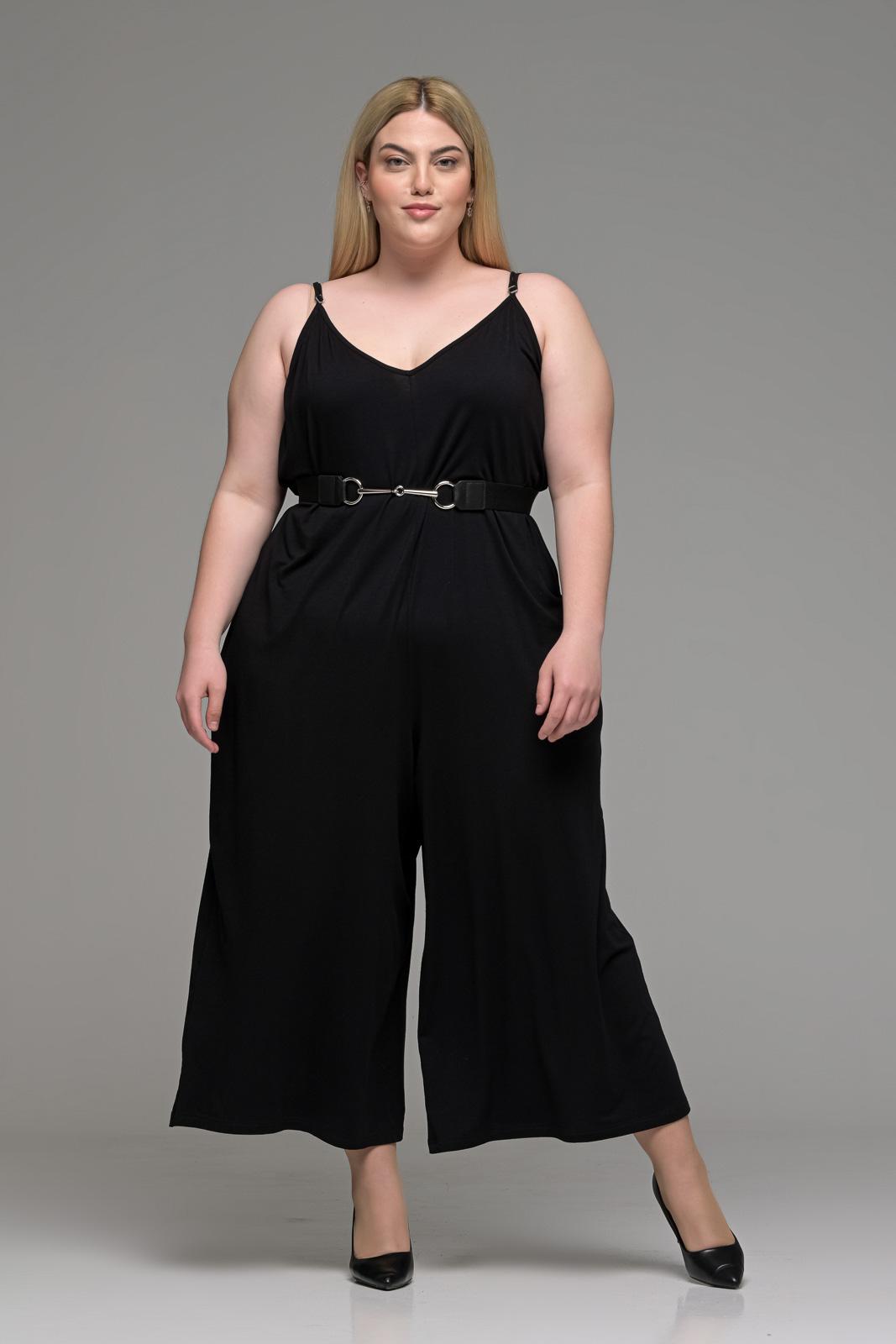 Ολόσωμη φόρμα μεγάλα μεγέθη παντελόνα βισκόζ με ραντάκι