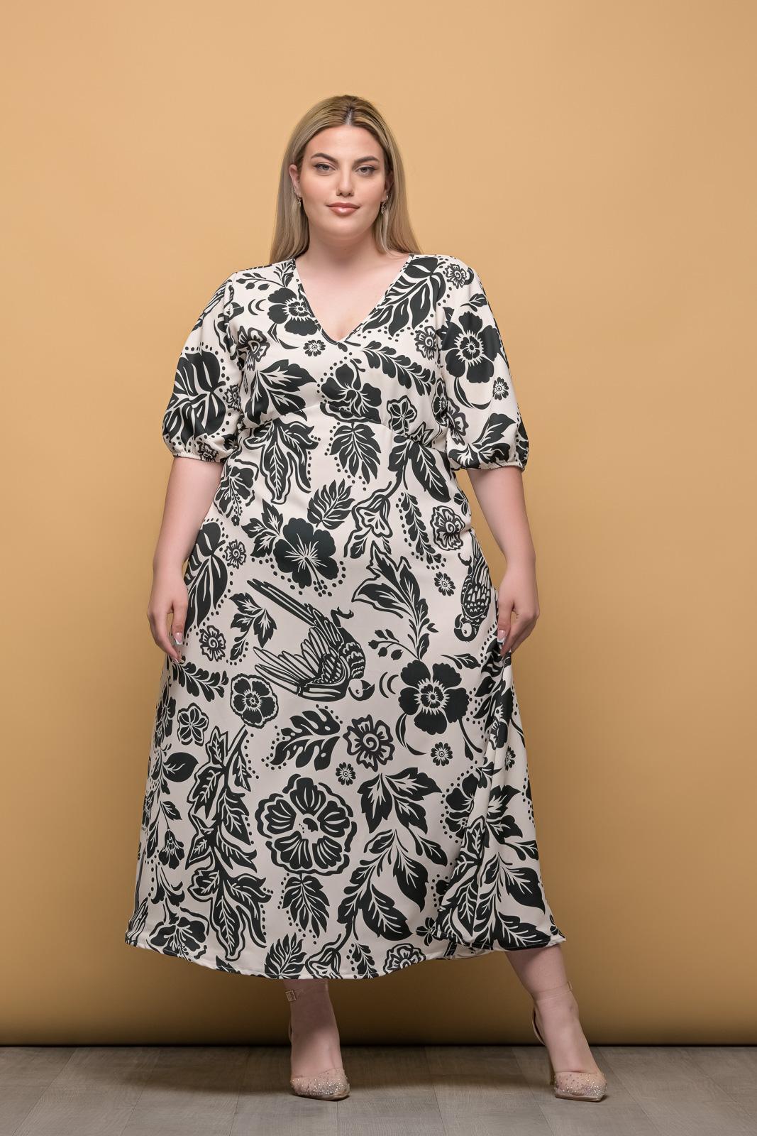 Φόρεμα floral με V λάστιχο στα μανίκια και φερμουάρ