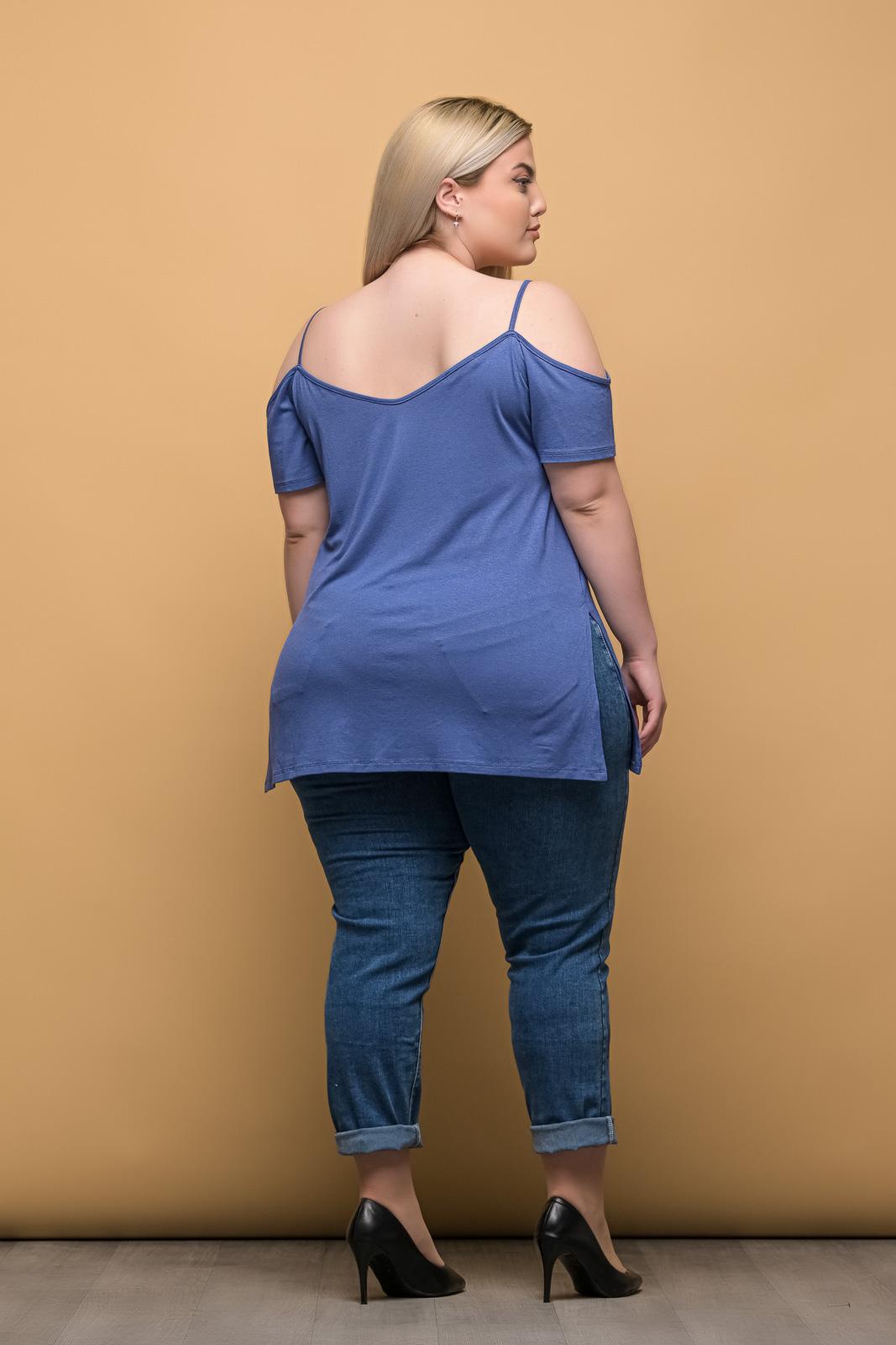 Μπλούζα μεγάλα μεγέθη ραφ με τιράντες και άνοιγμα στο πλάι.Στο eshop μας θα βρείτε οικονομικά γυναίκεια ρούχα σε μεγάλα μεγέθη και υπερμεγέθη.