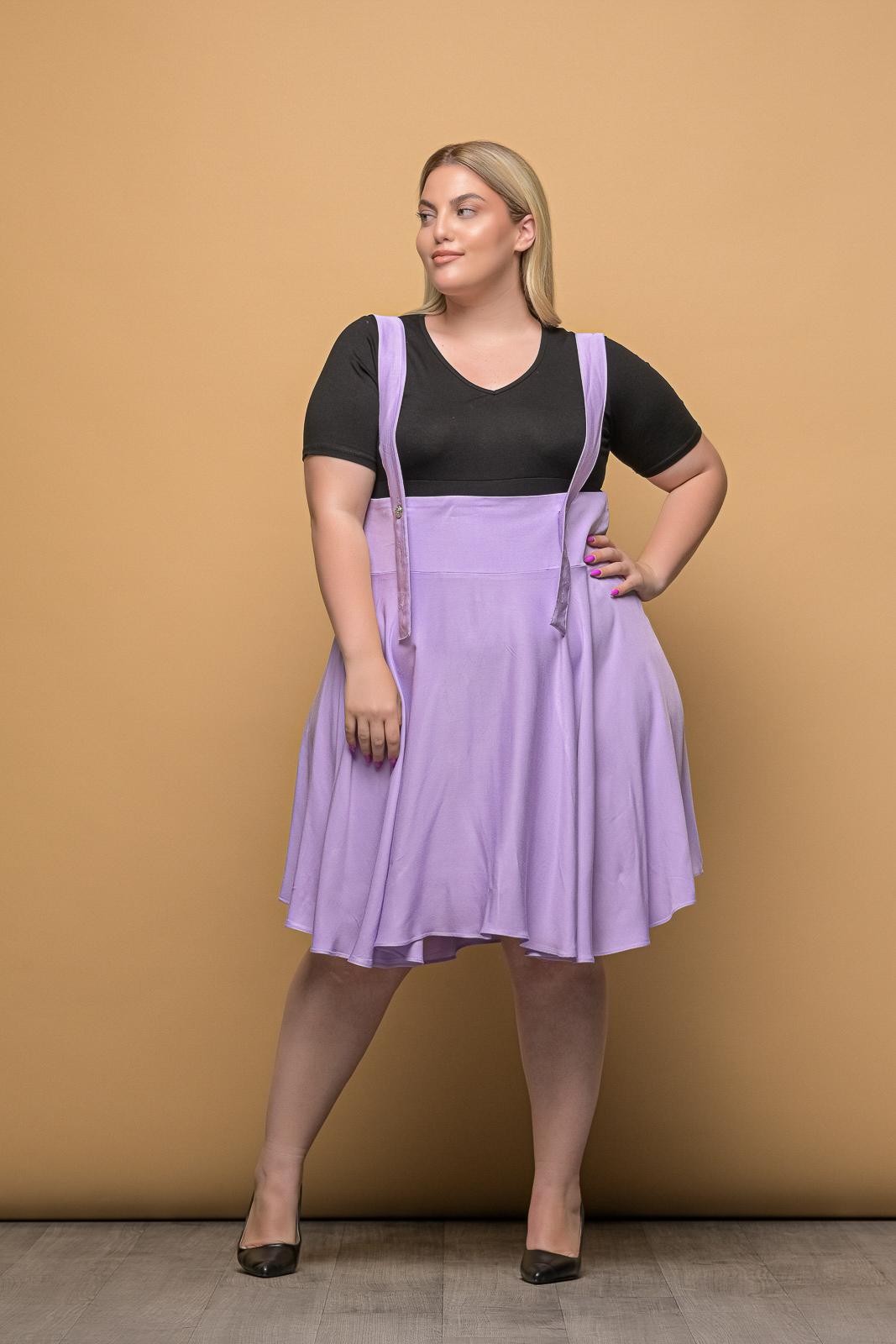 Φούστα μεγάλα μεγέθη λιλά με μπάσκα,τιράντες και φερμουάρ.Στο eshop μας θα βρείτε οικονομικά γυναίκεια ρούχα σε μεγάλα μεγέθη και υπερμεγέθη.