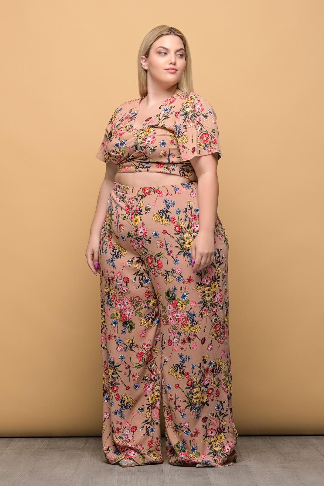 Παντελόνα floral/μπεζ με λάστιχο στη μέση